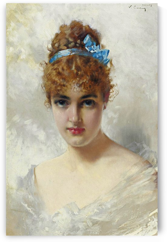 Portrait of a young beauty in white dress by Vittorio Matteo Corcos