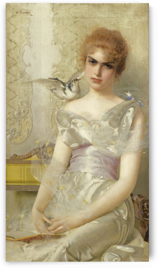 Portrait of young lady in white dress by Vittorio Matteo Corcos