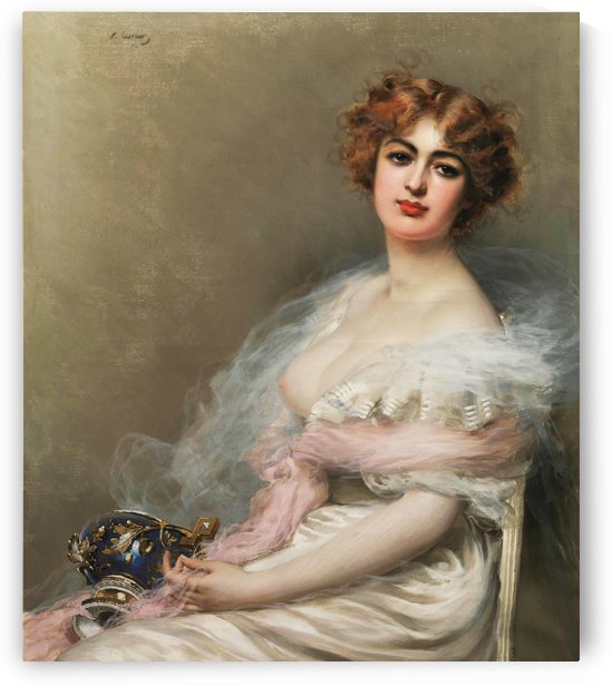 Young woman holding a vase by Vittorio Matteo Corcos