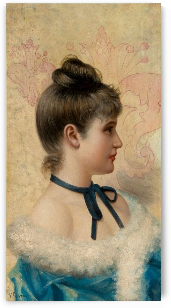 Portrait of a young woman in blue dress by Vittorio Matteo Corcos