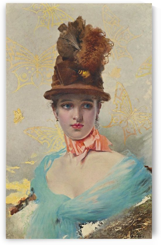 Portrait of a young woman in blue dress and wearing tall hat by Vittorio Matteo Corcos