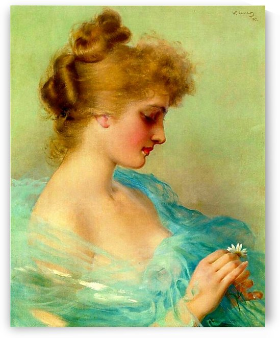 Portrait of a young woman in blue dress with flowers by Vittorio Matteo Corcos