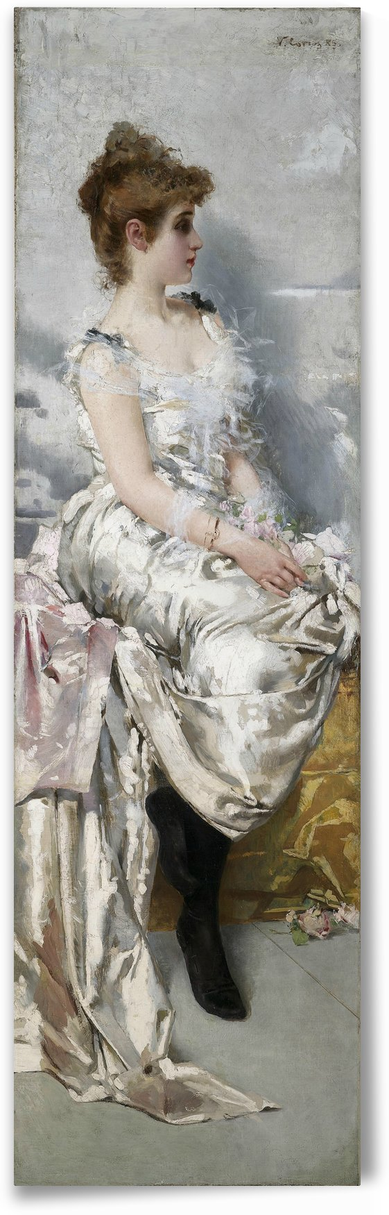 Portrait of young woman in white dress with flowers by Vittorio Matteo Corcos