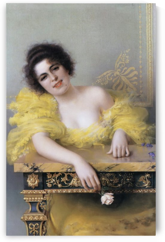 Young woman in yellow dress holding a rose by Vittorio Matteo Corcos