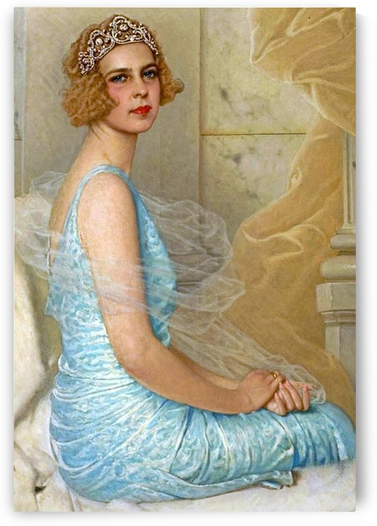 Portrait of an elegant lady in blue dress by Vittorio Matteo Corcos