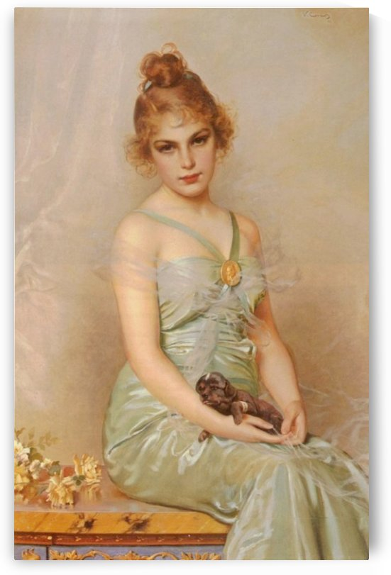 Portrait of a young lady with pup by Vittorio Matteo Corcos