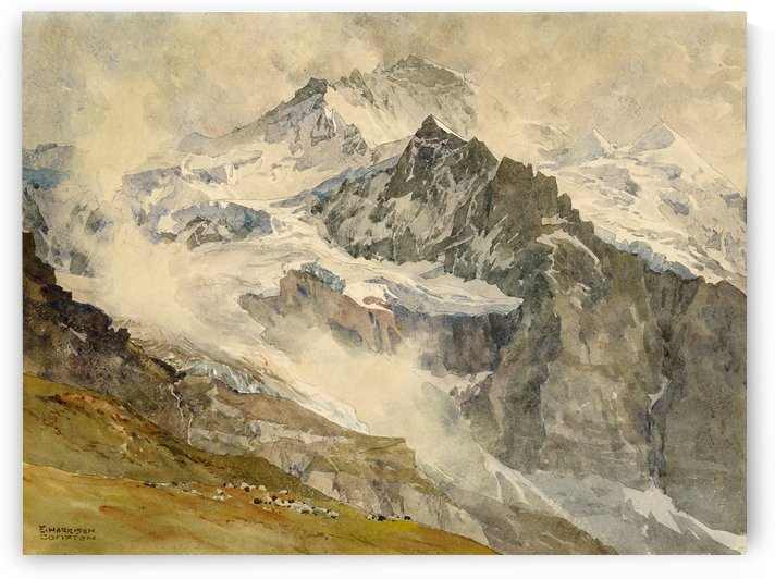 Alps with sheeps at the base of the mountain by Edward Theodore Compton