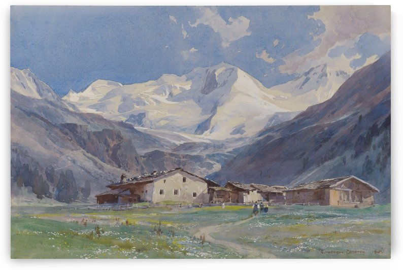 The Ortler seen from Gampenhofe Sulden by Edward Theodore Compton