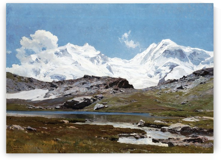 Mountain landscape with lake and snow by Edward Theodore Compton