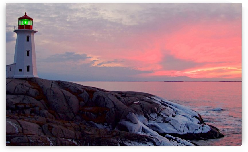 Peggys Cove Winter Sunset by Richard and Barbara Jones
