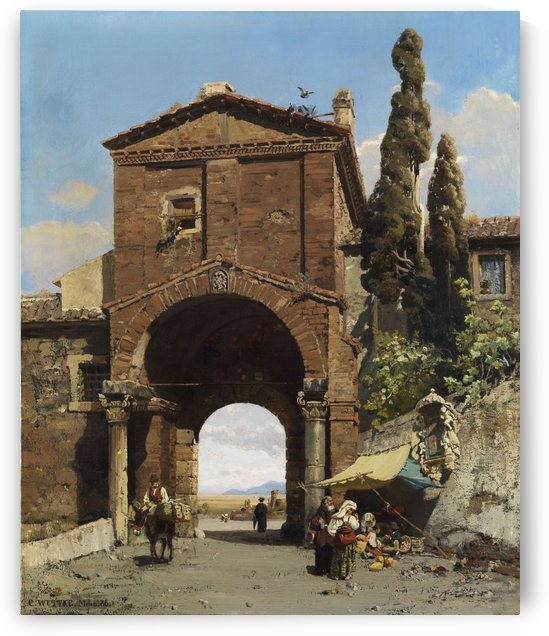 Roman archway with view towards Campagna 1886 by Carl Wuttke