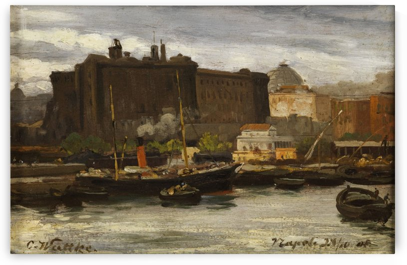 In the port of Naples by Carl Wuttke