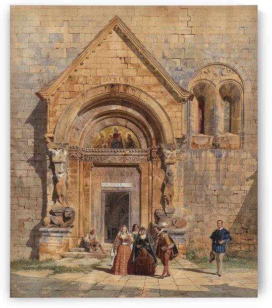 Kirchenportal und Personengruppe 1842 by Carl Werner