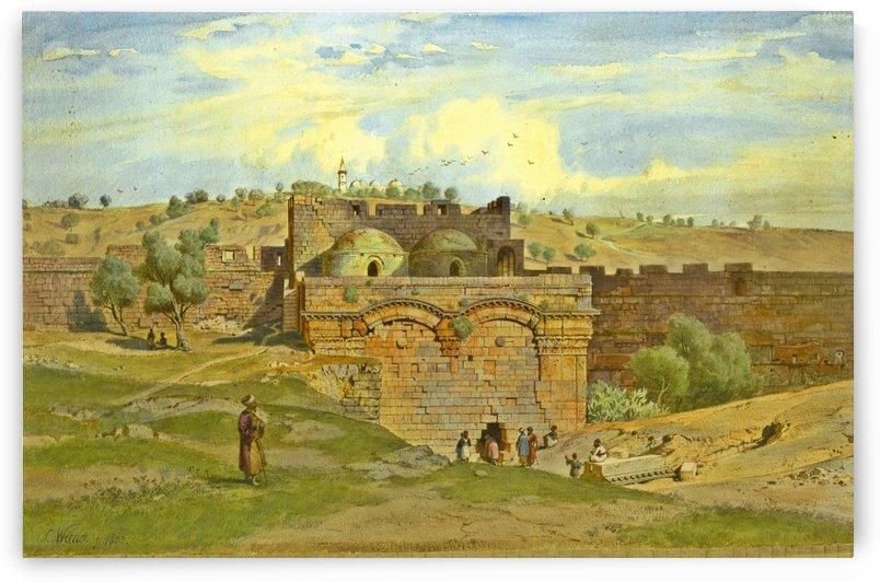 The Golden Gate, Jerusalem, the Mount of Olives beyond by Carl Werner
