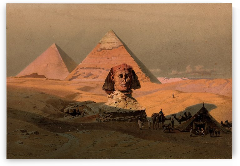 The pyramids at Giza and the Sphinx in Egypt by Carl Werner