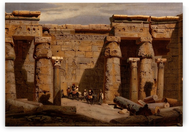 Court of the Medinet-Habu temple by Carl Werner