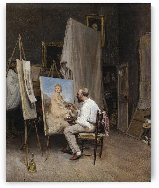 Le peintre dans son atelier by Carl Werner
