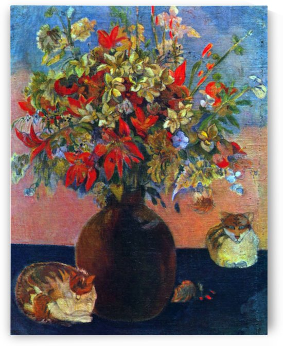 Flowers and Cats by Gauguin by Gauguin