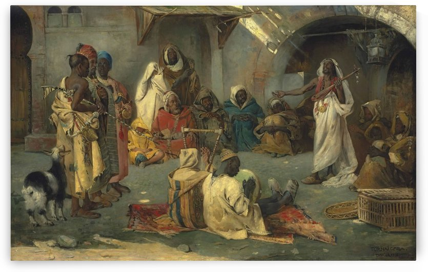Travelling musicians, Tangier by Gyula Tornai