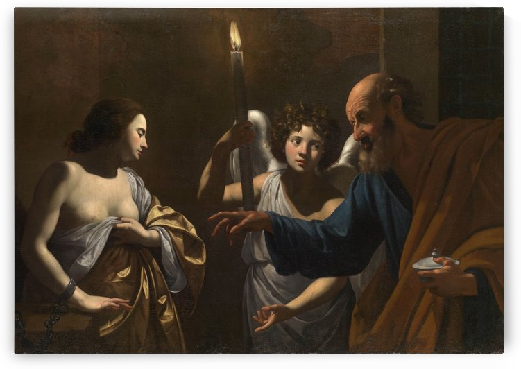 Saint Peter visiting Saint Agatha in prison by Simon Vouet