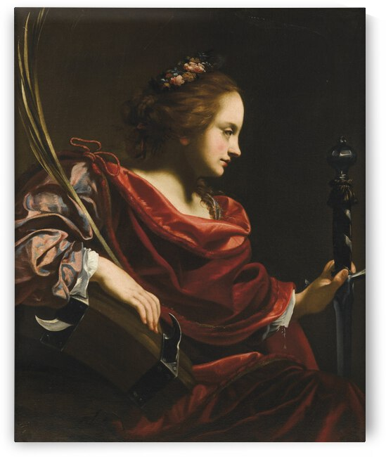 Saint Catherine of Alexandria in red dress by Simon Vouet