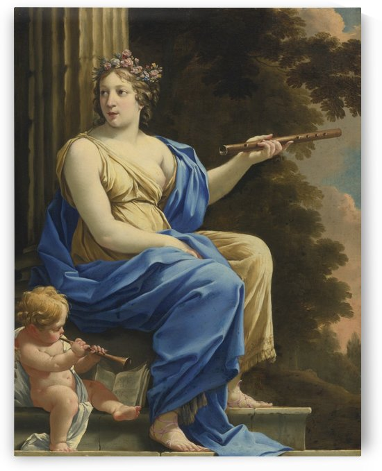Euterpe the muse of lyric poetry and music by Simon Vouet