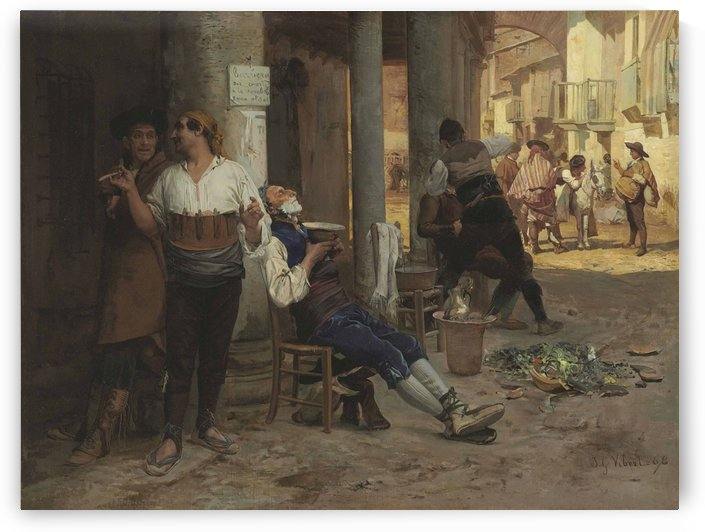Itinerant barber, Spain by Vibert Jehan Georges