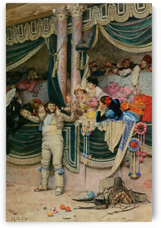 The bullfighters adoring crowd by Vibert Jehan Georges