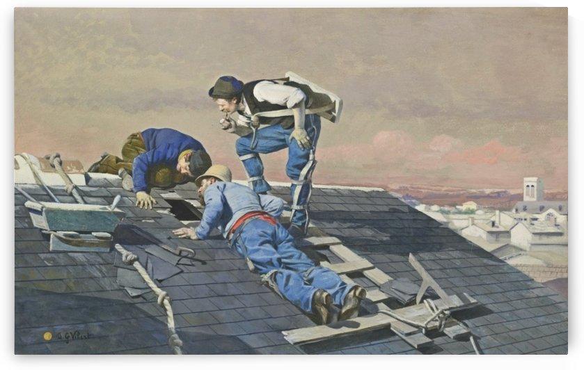 Peeping roofers by Vibert Jehan Georges
