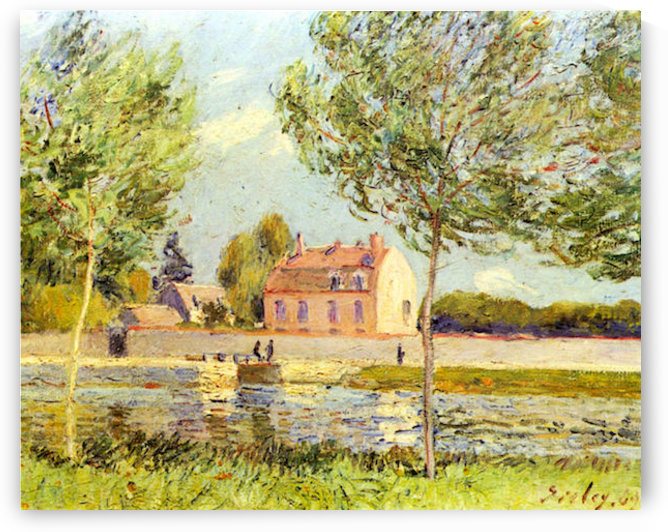 Houses on the banks of the Loing by Sisley by Sisley