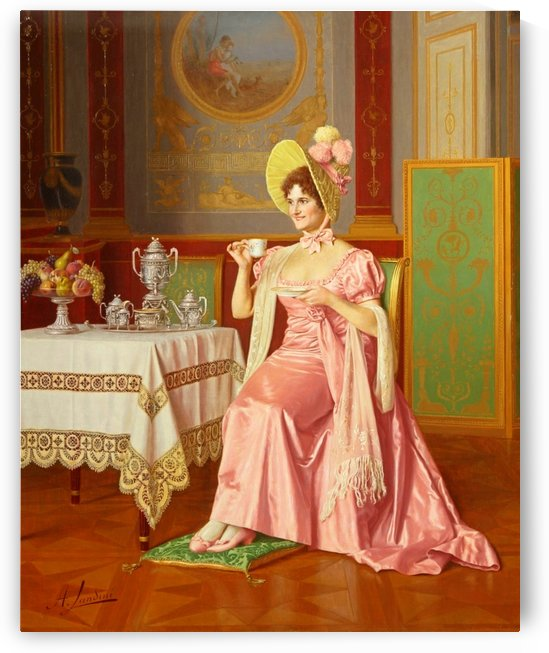 Lady having tea by Andrea Langini
