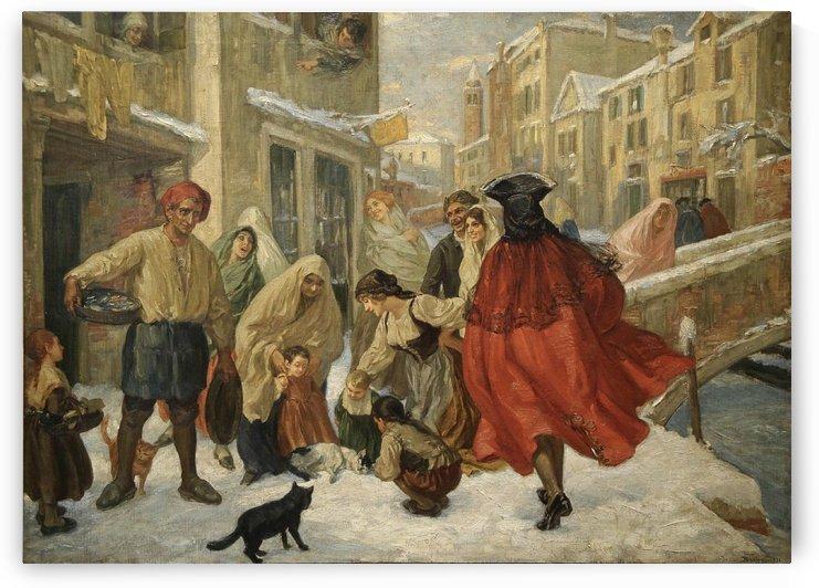 Scena Veneziana sotto la neve by Vittorio Emanuele Bressanin