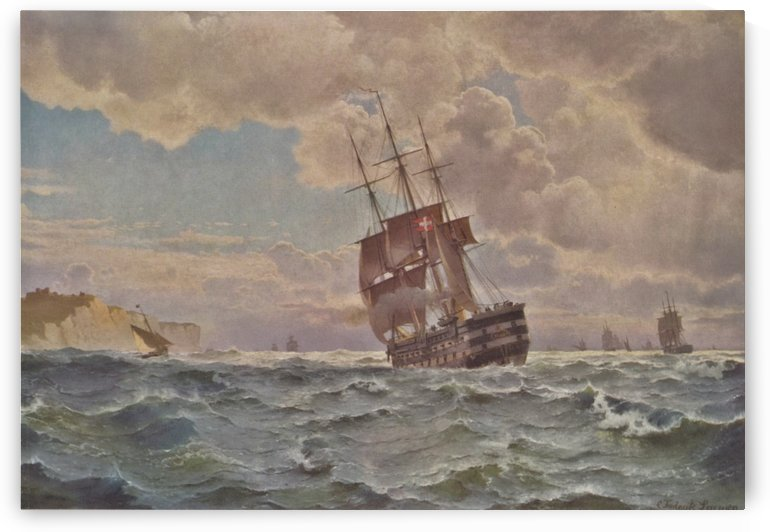 Ship along the line off the coast, 1875 by Carl Frederik Sorensen