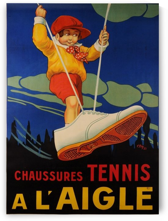 Original Vintage French Poster for Tennis Shoes by VINTAGE POSTER