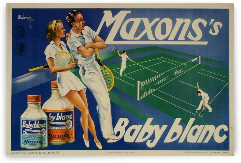 Maxon Baby Blanc vintage tennis poster in 1940 by VINTAGE POSTER