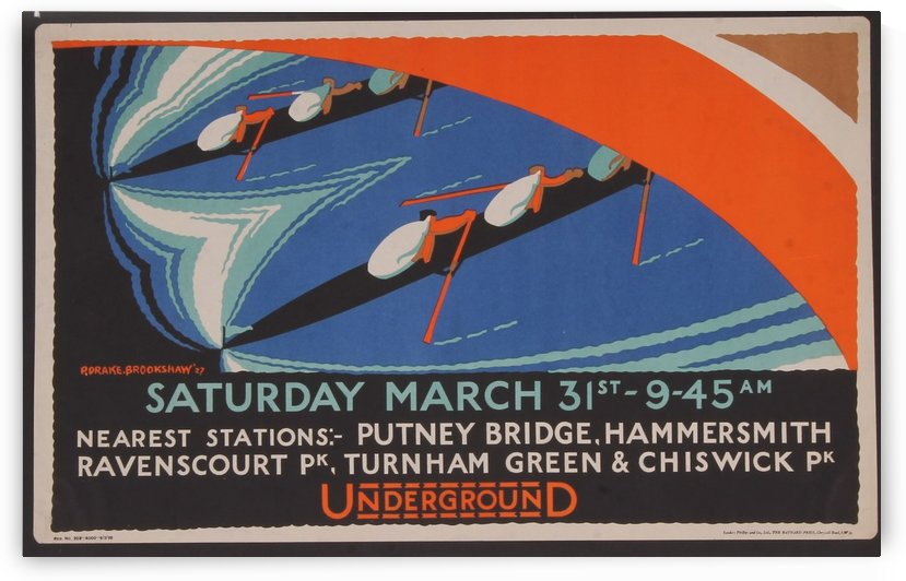London Underground advertising poster, for the University Boat Race by VINTAGE POSTER