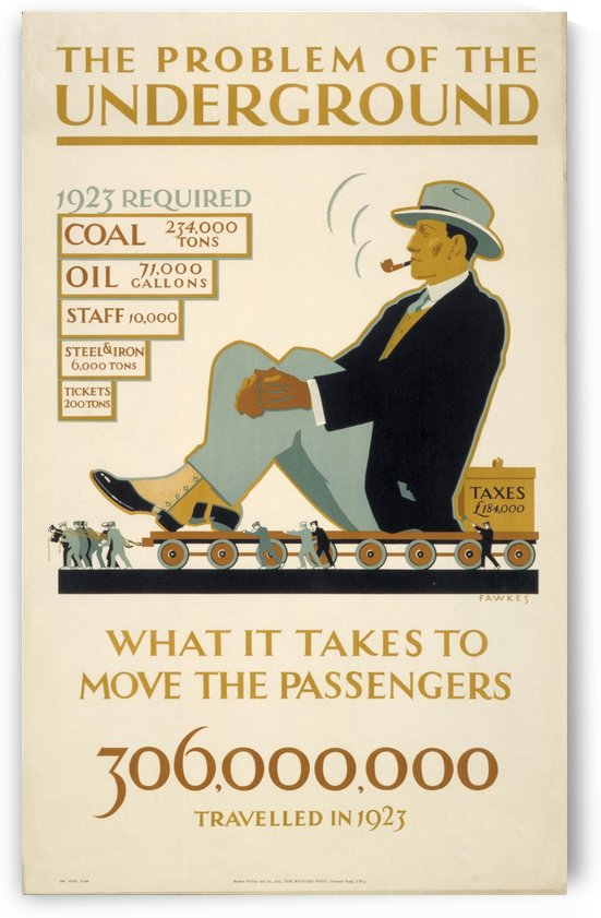 What it takes to move the Passengers - Problems of the Underground 1924 by VINTAGE POSTER