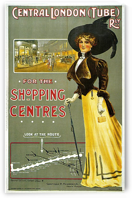 Central London Shopping Centres vintage poster by VINTAGE POSTER