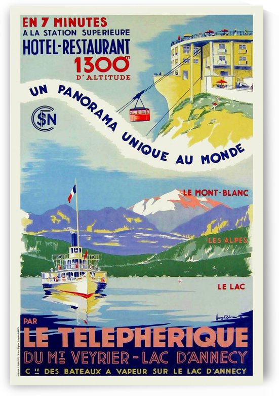 Art Deco Vintage French Travel Poster Telepherique du Veyrier Lac D'Annecy by VINTAGE POSTER