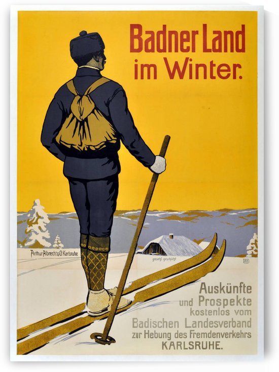 Early original vintage skiing poster promoting winter in Baden, Germany by VINTAGE POSTER