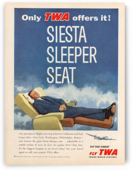 Vintage travel poster from TWA in 1958 by VINTAGE POSTER