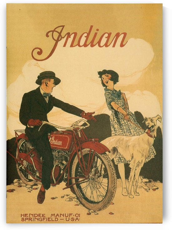 Indian Motorcycle Ad Poster by VINTAGE POSTER