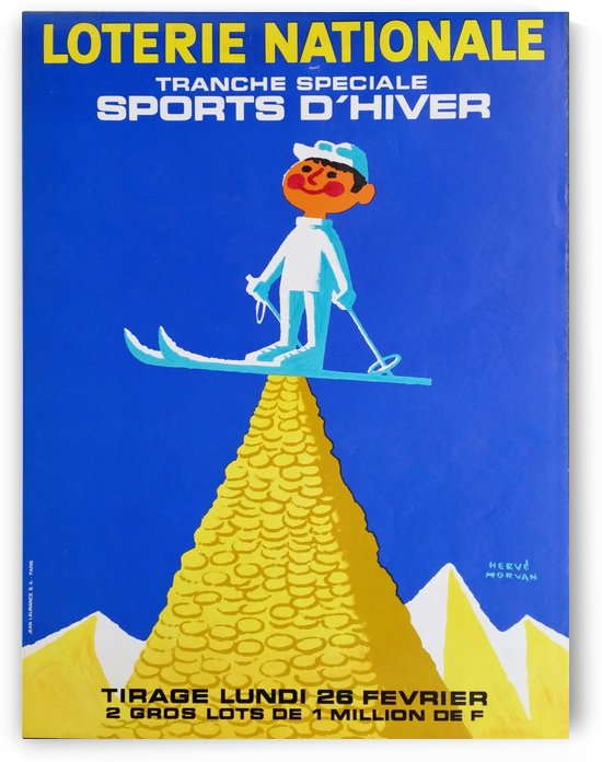Loterie Nationale original vintage poster ski winter sport by VINTAGE POSTER