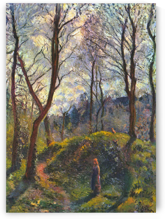 Landscape with big trees by Pissarro by Pissarro