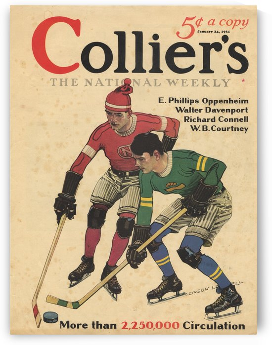 Collier's Magazine Cover - 1931 - Ice Hockey Players by VINTAGE POSTER
