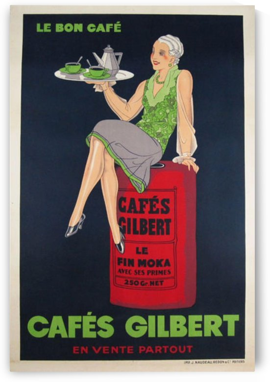 Cafes Gilbert original vintage food poster from France by VINTAGE POSTER