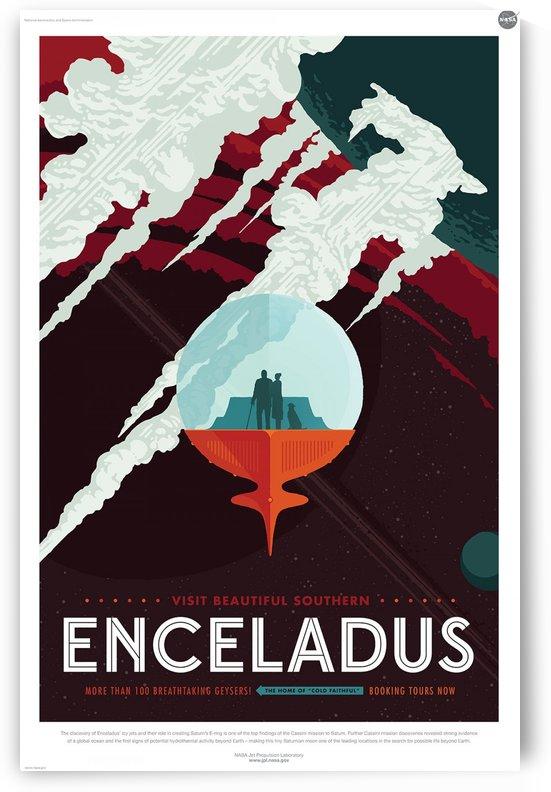 Visit Enceladus vintage poster by VINTAGE POSTER