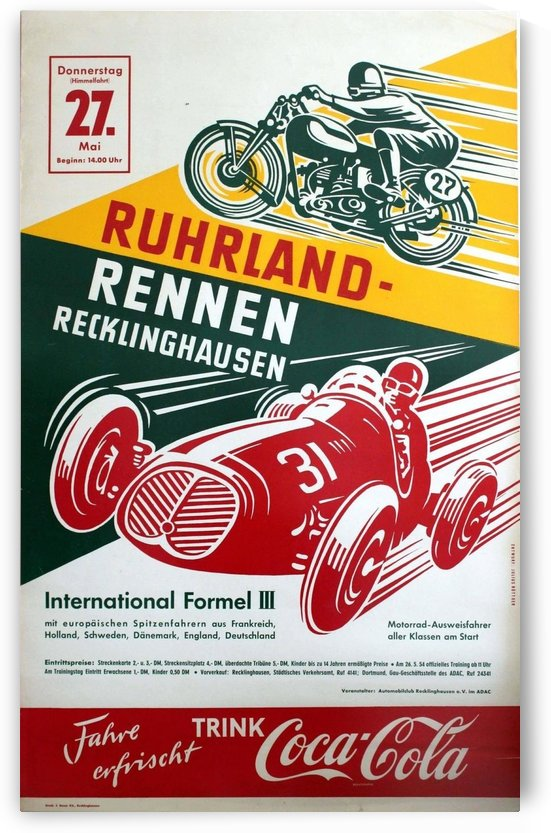 Original Vintage Car and Motorcycle Racing Poster by VINTAGE POSTER
