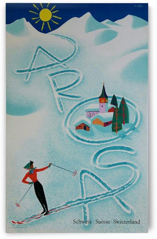 Original vintage poster ski Arosa Suisse by VINTAGE POSTER