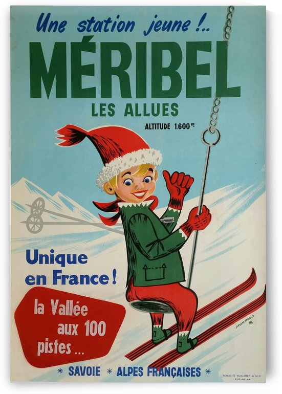 Original vintage poster ski winter sport Meribel by VINTAGE POSTER